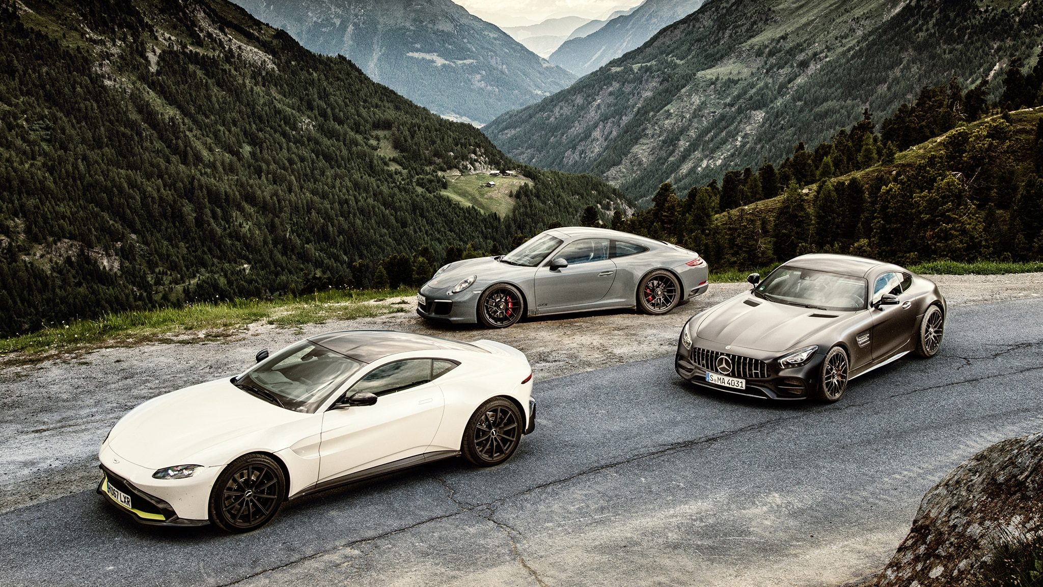 Alpine Shootout Aston Martin V8 Vantage Vs Mercedes Amg Gt C And 2018 Porsche 911 Gts