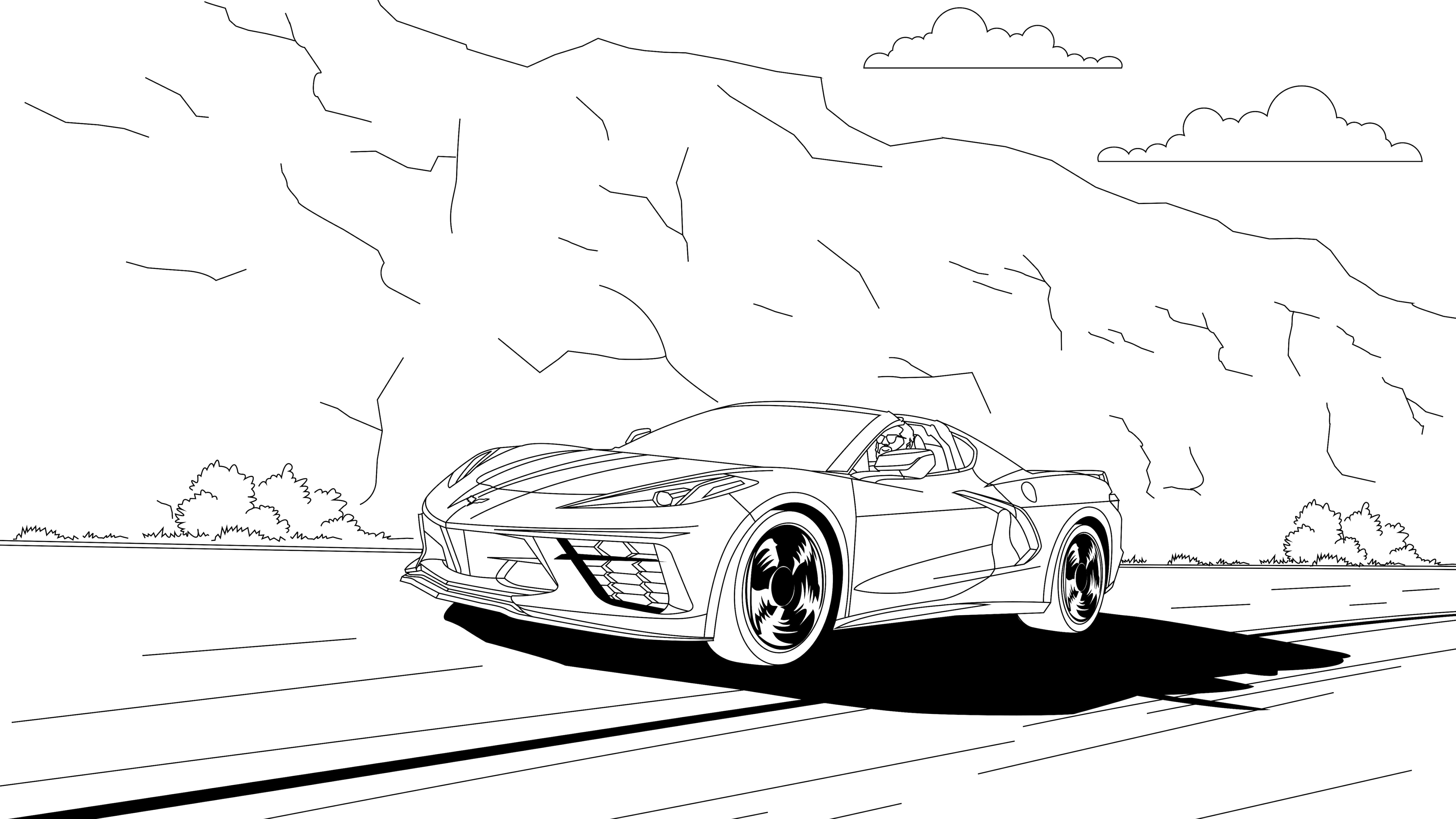 Lovely Cars 2 Coloring Pages Flower Coloring Pages Druckfertig Of ... | 2813x5000