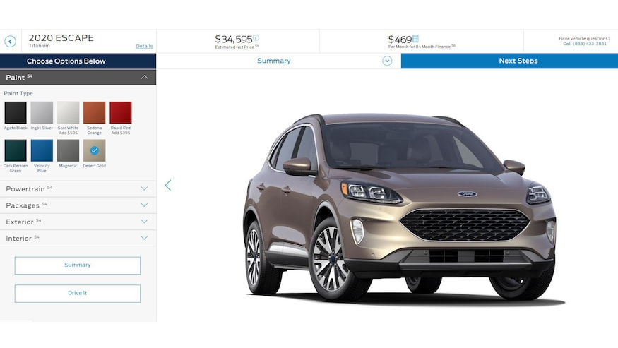 Build Your Own Ford >> 2020 Ford Escape You Can Now Build And Price One